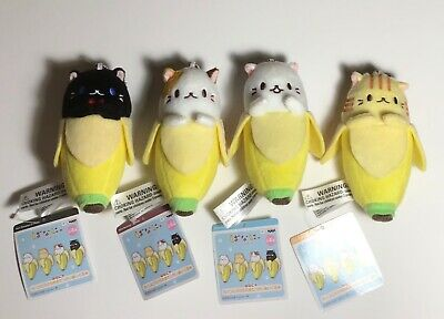 """Lot of 4 Bananya Cat in a Banana Plush Keychain 5"""" New with Tags"""
