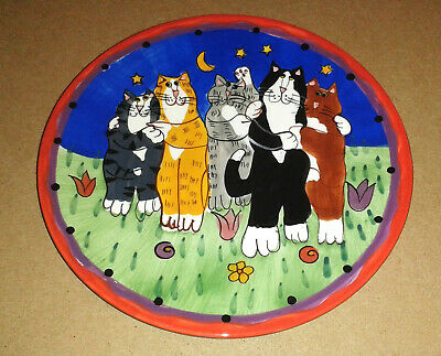 """CATZILLA *Cat Hug Fest* Collectors Plate 8"""" by Candace Reiter"""
