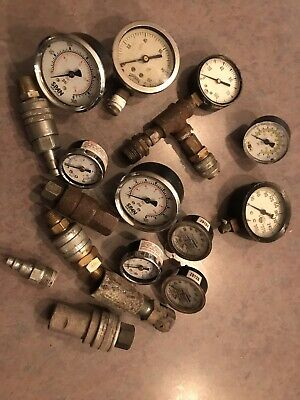 10 Old Vintage SteamPunk Industrial Art Pressure Gauge Metal + Assorted Coupler