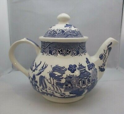 Large Churchill Willow Pattern Teapot Holds 2 Pints