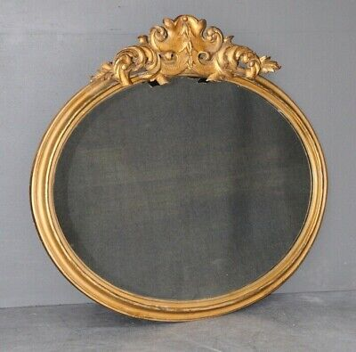 Large antique French oval wall mirror  rococo wood carving gold leaf gilt 1860