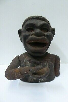 Old Black Boy Cast Iron Jolly Nigger Money Bank Novelty Lever Arm Action