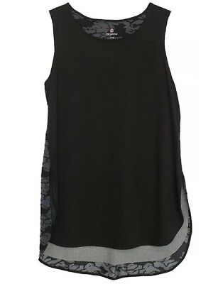 NEW Womens Tangerine Active Long Lined Tank Top Size Large Black/Gray