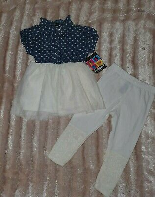 Girls Toddlers Outfit Set Tunic Dress & Leggings White /Light Denim 2T/ 2 Years