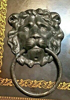 Cast Iron Antique Style Rustic LION HEAD Door Knocker Nickel Finish