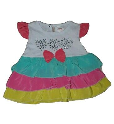 Baby Girls Infant Toddler Kids Frilly Multicolour Dress Tunic Top 12 Months