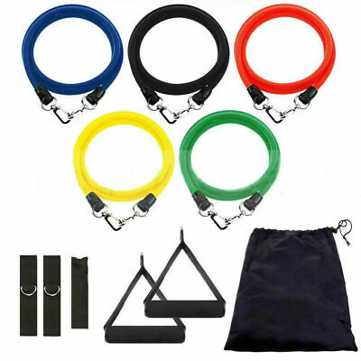 11PCs Resistance Bands Set Workout Bands with Metal Clips Handles Ankle Strap