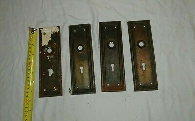 Antique Brass Door Knob Escutcheon Plates Lot 4