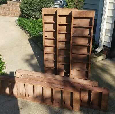 Antique Vintage Brick Mold Cubby Shelf Architectural Salvage Wood Farmhouse