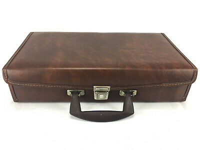 Cassette Holder Case Briefcase 24 Tapes Brown Faux Leather