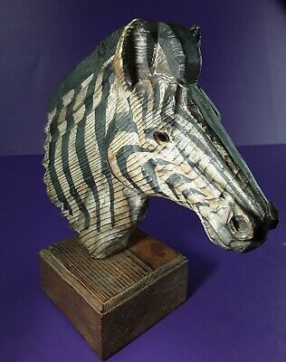 """Vintage WOODEN ZEBRA Head FIGURE Hand Carved and Painted (8"""" long x 9-1/2"""" tall)"""