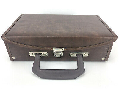 Cassette Holder Case Briefcase 12 Tapes Brown Faux Leather