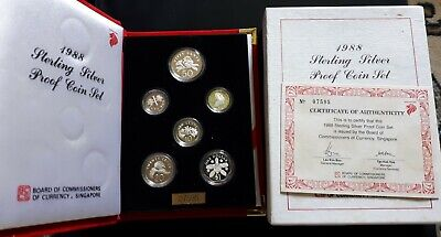 1988 Singapore Sterling Silver Proff Velvet Coin Set With Coa ~Orchids, Brunei