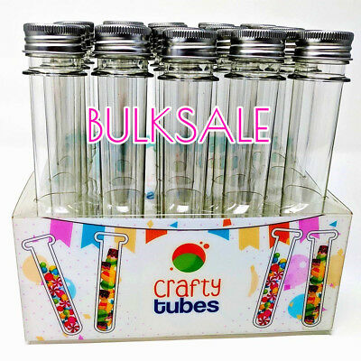45ml Plastic Lab Test Tubes w/ Metal Caps Screw Top Candy Bath Salt Container UK