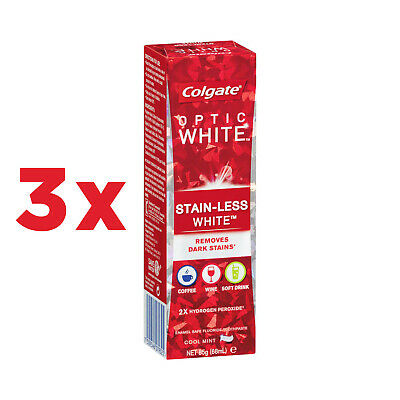 3x Colgate Optic White Stain-Less White Cool Mint Whitening Toothpaste 85g