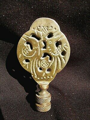 "LAMP FINIAL Antique Vintage Ornate Asian Birds - Brass Chinese Japanese 3 1/2"" H"