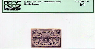 Fr. 1226 - 3 Cent Fractional Currency  Pcgs 64 Very Choice Unc
