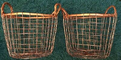 "Primitive Style Copper Wire Baskets with Handles - Rustic - 10"" x 7 1/2"""