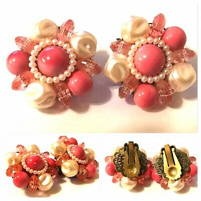 Vintage Pink And Faux Pearl Cluster Clip On Earrings With Patina On Back