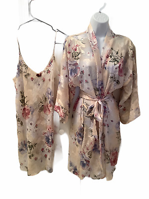 CALIFORNIA DYNASTY Womens Chemise Nightgown & Robe Set Multicolor Floral Small