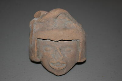 Antique Pre-Columbian Mayan Inca Aztec Pottery Head/Face Fragment-Artifact C