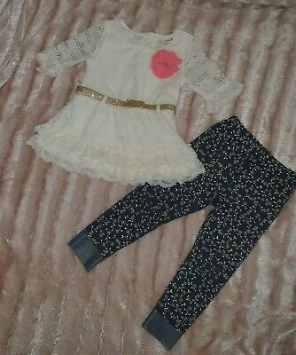 Girls Outfit Set of 3 Lace Rose Top Tunic, Belt, Leggings Bottoms Floral 3 Years