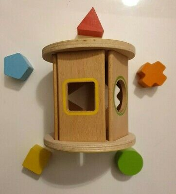 Baby Toddler Wood Shape Sorter Cylinder Shaped Blocks Early Educational Toy Gift