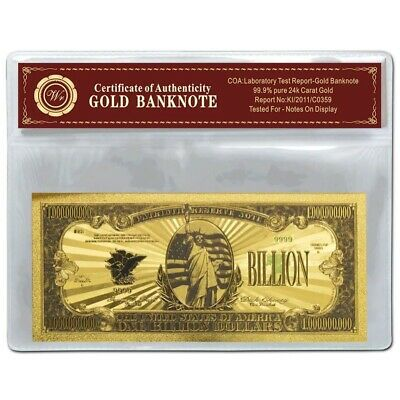 $1 Billion Dollar Bill US Gold Banknote Color with certificate of authenticity
