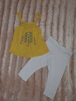 Girls Toddlers Outfit Set Yellow Top & White leggings 2/3 years bundle