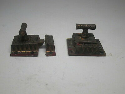 Pair Antique cabinet latch catch T handle cast iron Victorian Doors cupboard