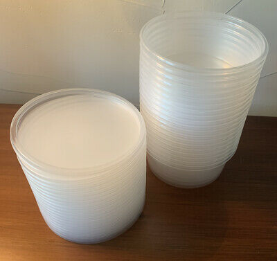 Lot (20) 8 oz Plastic Food Storage Containers with Lids Deli Cups Free Ship
