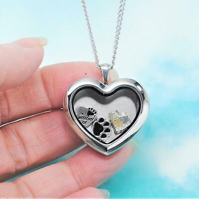 Angel Yorkshire Terrier Heart Memory Locket Necklace || Yorkie Keepsake Jewelry