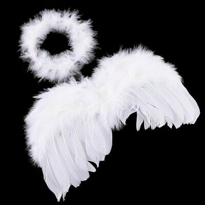 Baby Infant Angel Wings & Halo Costume Feather Newborn Fairy Props White UK