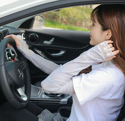 Lace  Long Fingerless Sleeves Sun Gloves Arm Breathable Sunscreen Driving