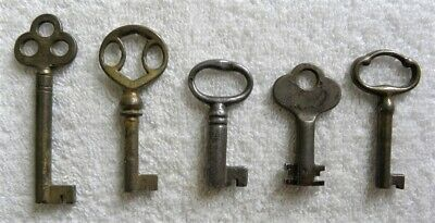 5 Vintage Furniture, Cabinet Skeleton Door Lock, Padlock Barrel Keys (D)