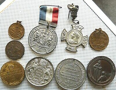 9 X Assorted Medals Victoria/Edward V11 / V111 Coronations Etc