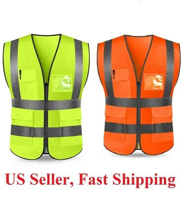 Neon  Safety Vest w/ High Visibility Reflective Stripes Orange & Yellow*