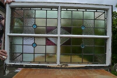 British leaded light stained glass window sash. R820b. DELIVERY OPTION!