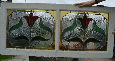 Double leaded light stained glass window sash. R908b. DELIVERY OPTION!