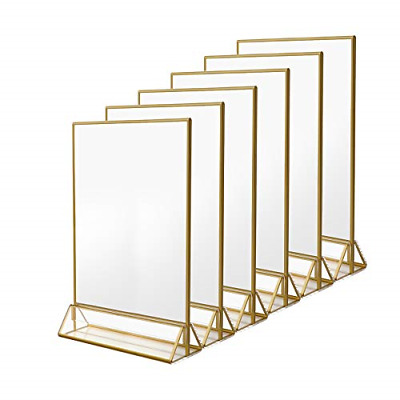NIUBEE 6Pack 8.5 x 11 Acrylic Sign Holder with Gold Frames and Vertical Stand,