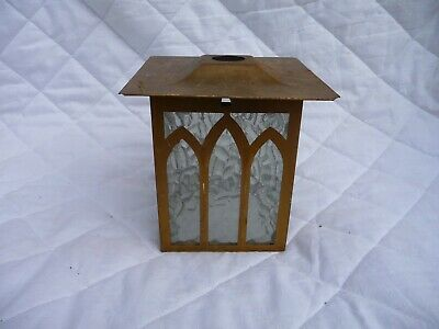 Vintage Gold Colour Metal Porch Lantern Light Shade Chapel Style Obscure Glass