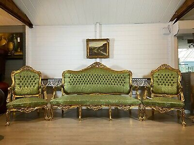 Louis XVI French Style Gold Gilt Silk Damask Decorative Suite