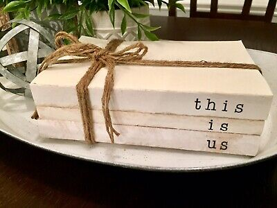 Stamped Stacked Books Farmhouse Decor This Is Us