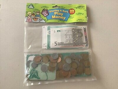 ELC Play money Sterling Euro Coins Notes Credit card Cheque book New 99 pieces