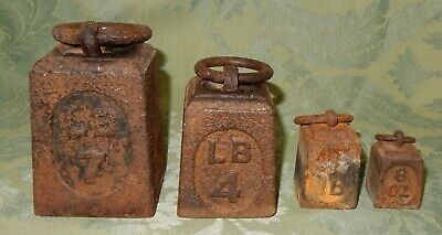 Vintage Set Cast Iron Ring Weights 7lb- 4lb-1lb-8oz