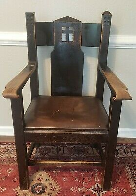 Antique Mission Arts and Crafts Style Oak Armchair Michigan Chair Co ? Gothic