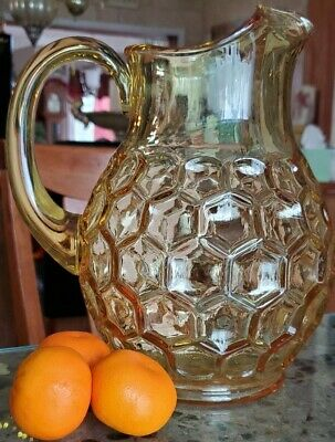 Vintage Thumbprint Glass Pitcher Yellow/Amber Applied Handle Heavy