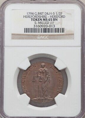 1794 Great Britain - Herefordshire, Hereford 1/2 Penny Token / NGC MS-65 BN