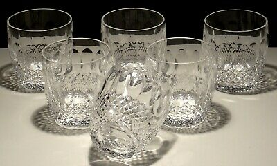 6 Vintage Waterford Crystal Colleen Old Fashioned Glasses ~ 3 3/8""