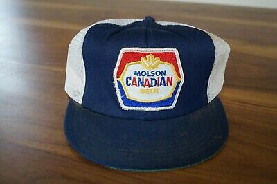 Vintage Molson Canadian Beer Patch Hat Snap back Mesh Trucker Made in USA  Loc:E